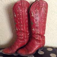 Vintage 1970s Dan Post red and green Christmas Cowboy Cowgirl Boots- Size 8~