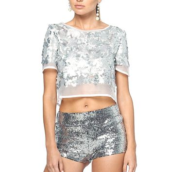 To My Main Man Sequin Crop Top