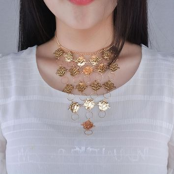 Rose Flower Metal  Boho Beach Bib Coin Necklace Women Tribal Jewelry GD