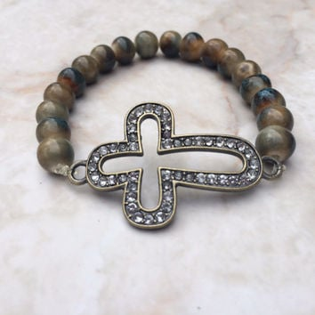 Cross Stretch Bracelet, Turquoise Bead Stretch Bracelet, Cross Bracelet, Copper Cross Bracelet, Sideway Cross Bracelet