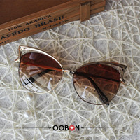 OOBON 2016 New Big Round Frame Sun Glasses 12 Colors Summer Cat Eye Sunglasses Women Brand Designer oculos de sol