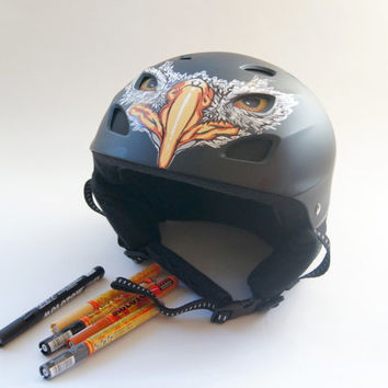 Unique Custom Helmet with Eagle Design. Hand Painted Helmet for Skiing, Snowboarding, Biking, Climbing and More