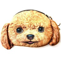 Realistic Toy Poodle Puppy Dog Face Shaped Soft Fabric Coin Purse Make Up Bag