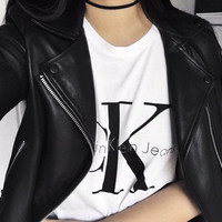 Calvin klein jeans Hot sexy letters printing female sweater pullovers white tee shirt