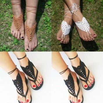 CREYUG3 Crochet Barefoot Sandals Brides Shoes Yoga Beach Wear Anklet Hippy boho chic
