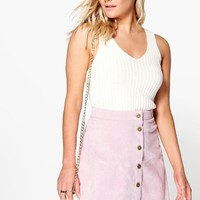 Eloise Scallop Trim Button Front Cord Mini
