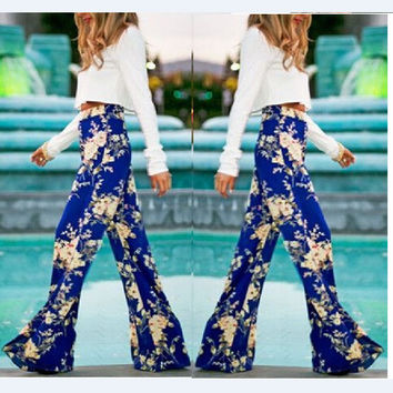 Flower Print Straight Casual High Waist Flared Pants