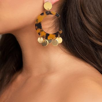 Marbled Cut-Out Earrings - Brown