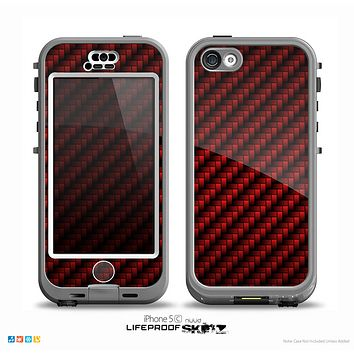 The Glossy Red Carbon Fiber Skin for the iPhone 5c nüüd LifeProof Case