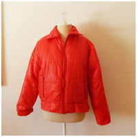 Vintage 80s Red Puffer Coat Short Nylon Windbreaker Jacket Small