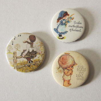 70s Set of 3 Shabby Chic Country Boho Pinback Button Badges -- Mori Kei / Anne of Green Gables / Dolly Kei / Gunne Sax Inspired Accessories.