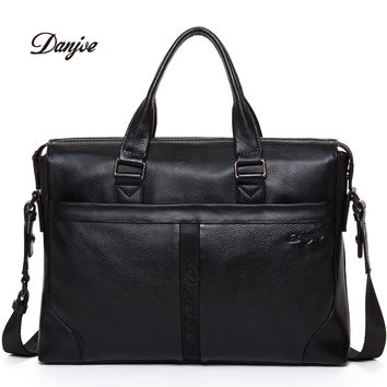 DANJUE Genuine Leather Man Business Handbag High Quality Men's Business Bags Solid Color Men Travel Bag Transverse Daily Bag