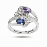 De Buman Customized Sterling Silver Couple's Name and Birthstone Ring - Ship in 3 to 4 Weeks