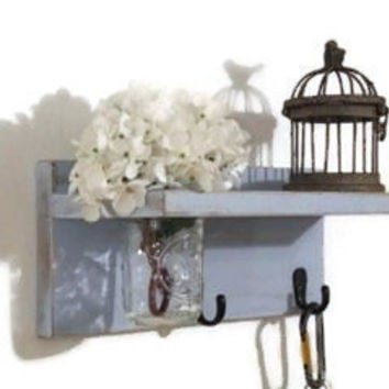 Shelf With Hooks/Shabby Chic Shelf With Vase/Shelf With Mason Jar/Country Cottage Decor/Bathroom Shelf/Shelf with Key Hooks