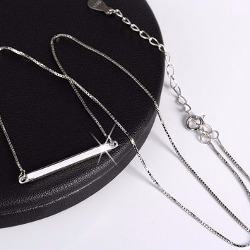 Bar Pendant Necklace 925 Sterling Silver