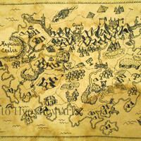 Fantasy Map Realm Art print, Ancient Map, Pirate map - ink map print from original art made on coffee hand-dyed card stock 110 lbs.