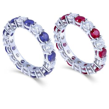 TransGems 2.5 Ct Lab Grown Moissanite& Natural Sapphire Ruby Ring 14K White Gold Fashion Jewelry Rings for Engagement Jewellery