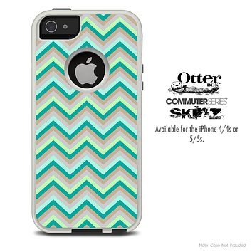 The Subtle Greens Chevron Skin For The iPhone 4-4s or 5-5s Otterbox Commuter Case