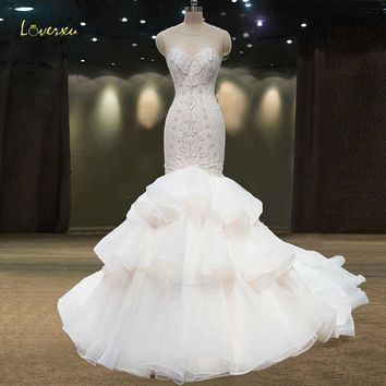 Loverxu Vestido De Noiva Beaded Pearls Mermaid Wedding Dress 2018 Sexy Court Train Pattern Ruffles Vintage Trumpet Bridal Gown