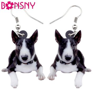 Bonsny Acrylic American Pit Bull Terrier Dog Earrings Big Long Dangle Drop Fashion Jewelry For Women Girls Ladies Kids Animal