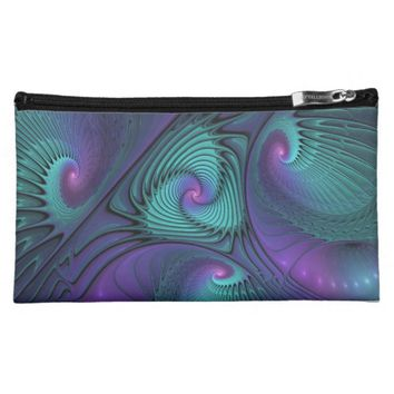 Purple meets Turquoise modern abstract Fractal Art Makeup Bag