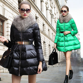 New Fashion Women Winter Coat Women's  New Luxury Fur Collar DOWN  Girls Long Jacket Black Size S-XL Free Shipping B094