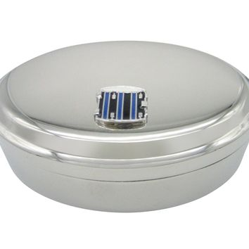 Blue and Black Toned Drum Musical Instrument Oval Trinket Jewelry Box