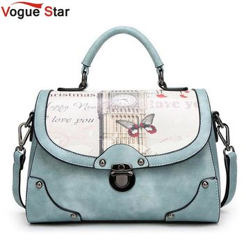 vintage Printing bag women pu leather handbag brand shoulder bag messenger bags bolsos European and American Style purse LA462
