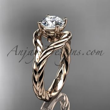 14k rose gold twisted rope engagement ring RP8125