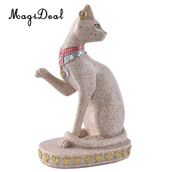 MagiDeal Sandstone Ancient Egyptian Mau God Cat Statue Craft Sculpture Hand Carved Figurine Home Decor Miniature