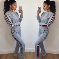 Stylish Casual Hot Sale Winter Women's Fashion Round-neck Long Sleeve Pants Set [45376602127]