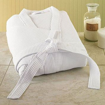 New Style White Waffle Spa Bath Robe Low Price One Size Fits Most