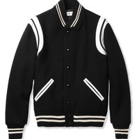 Saint Laurent Leather-Trimmed Wool-Blend Varsity Jacket | MR PORTER