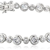 Sterling Silver Round Cut Cubic Zirconia Tennis Bracelet, 8.25""