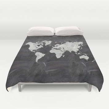 Chalkboard world map Duvet Cover by Ummuhan Uslu