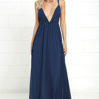 Flutter Freely Navy Blue Maxi Dress