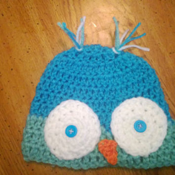 Ready to ship,  0-6 Months crochet owl beanie, Crochet owl Hat,