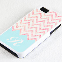Custom Stylish Pink and Blue Chevron Personalize iPhone 5 + 4S + 4 + 5C + 5S Tough Rubber and Soft Case, iPod 5 + 4 Case