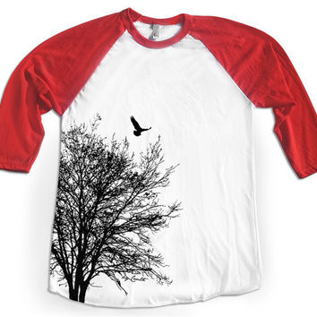 Baseball TREE Shirt Unisex Raglan Tshirt Hand Screen Print American Apparel 3/4 Sleeve XS, S, M, L, XL 4 Color Available