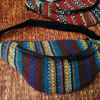 Festival Tribal Fanny pack boho Styles cycling bag Hippie Hipster phanny waist Bum bag Ethnic Ikat Bohemian Stripe unisex Multicolor blue
