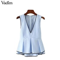 Vadim sweet ruffles V neck pleated shirts low cut sexy bow tie sleeveless double layers blouse elegant casual tops blusas WT433