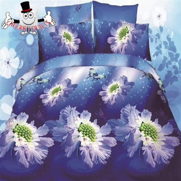3D Floral Blue Butterfly Bedding Set and Quilt Cover