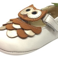 Tip Toey Joey Girl's Owlly Tapioca Ochre Cream Brown Owl Character Leather Hook and Loop T-Strap Mary Jane Flat