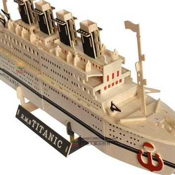 3D Jigsaw Puzzles for Kids Titanic Real Wood Handcrafts Wooden Ship Model Building Architecture Educational Toys for Toddlers