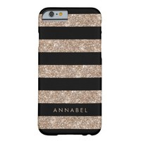 Rose Gold Glitter & Black Stripe Personalized Barely There iPhone 6 Case