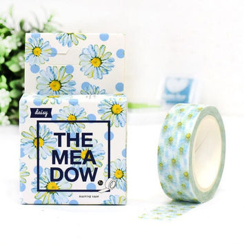 4J214 1.5cm Sweet Blue Daisy Flowers Decorative Washi Tape DIY Scrapbooking Masking Tape School Office Supply
