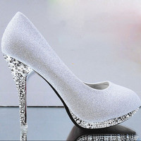 gold high heels green white wedding shoes red bridal shoes Pumps