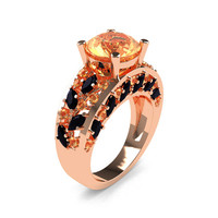 Modern Italian 14K Rose Gold 3.0 Ct Champagne Diamond Marquise Black Diamond Engagement Ring Wedding Ring R614-14KRGBDCHD