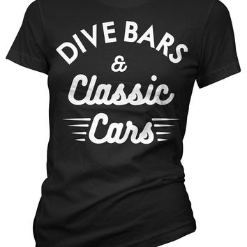 """Women's """"Dive Bars & Classic Cars"""" Tee by Cartel Ink (Black)"""
