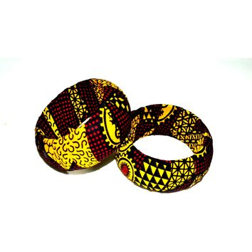 Unique African Inspire Bangle Bracelet Gift, African Fabric Cover Wood Bangle